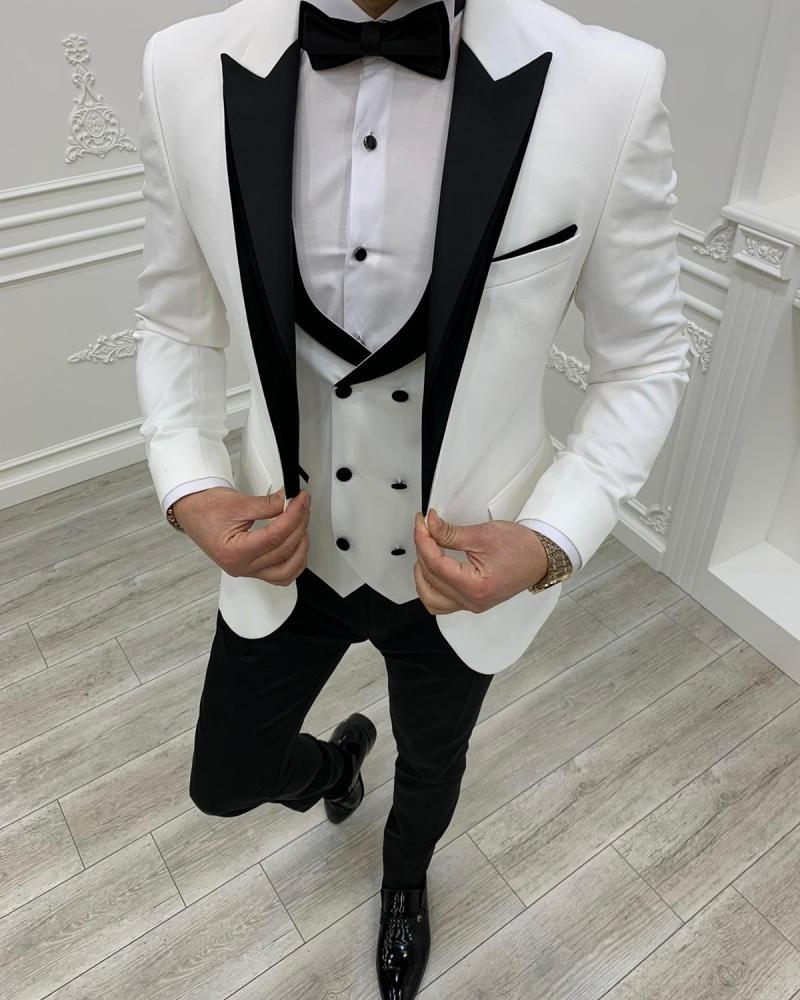 Aysoti Clyde White Slim Fit Velvet Peak Lapel Tuxedo