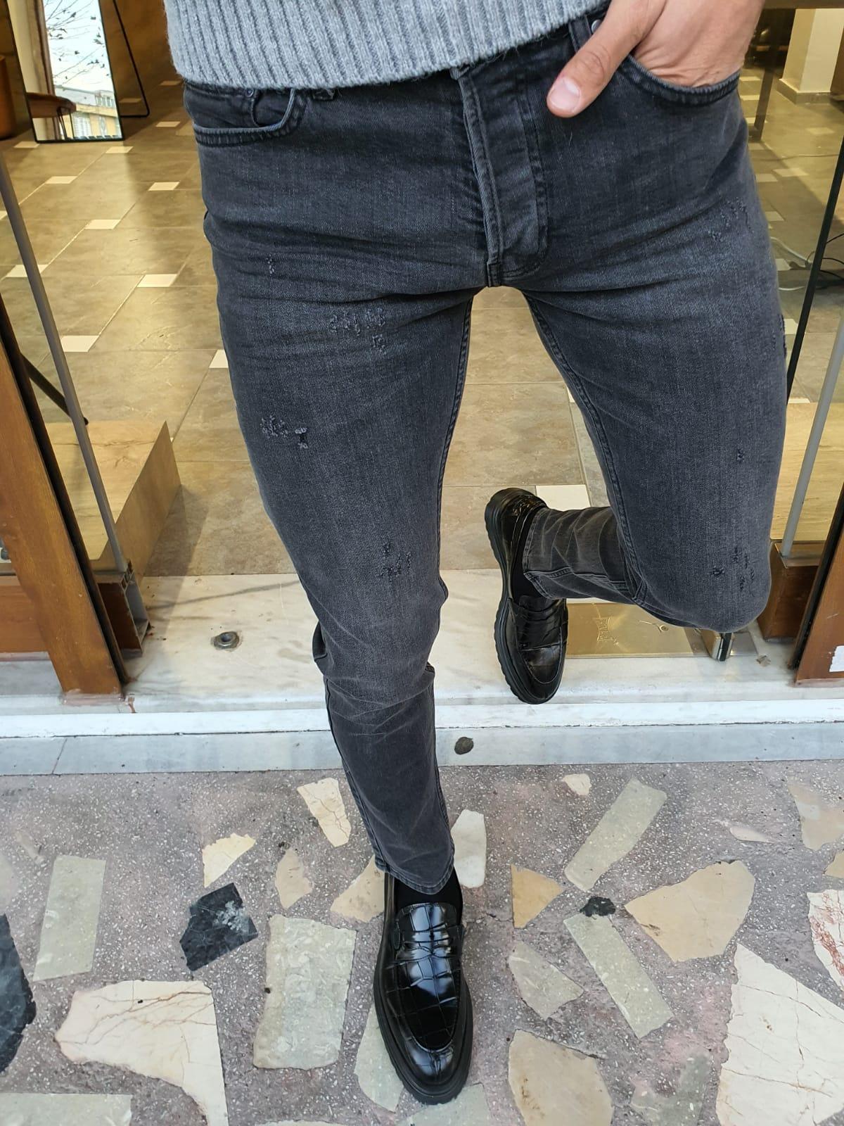 Aysoti Brandon Gray Slim Fit Striped Jeans