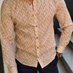 Aysoti Fayetteville Beige Slim Fit Patterned Cotton Shirt