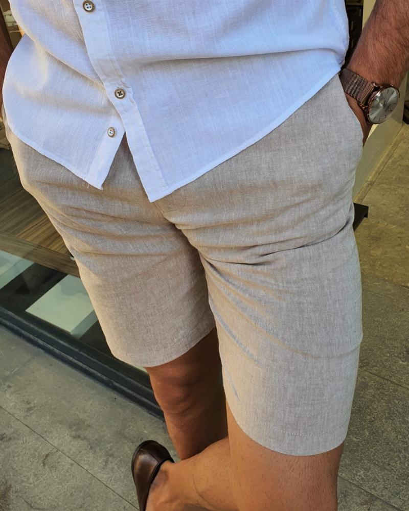 Aysoti Fayetteville Beige Slim Fit Shorts