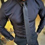 Aysoti Fayetteville Black Slim Fit Chain Collar Shirt