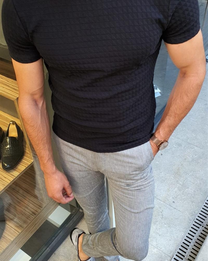 Aysoti Fayetteville Black Slim Fit Round Neck T-Shirt