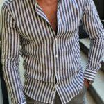 Aysoti Fayetteville Black Slim Fit Striped Shirt