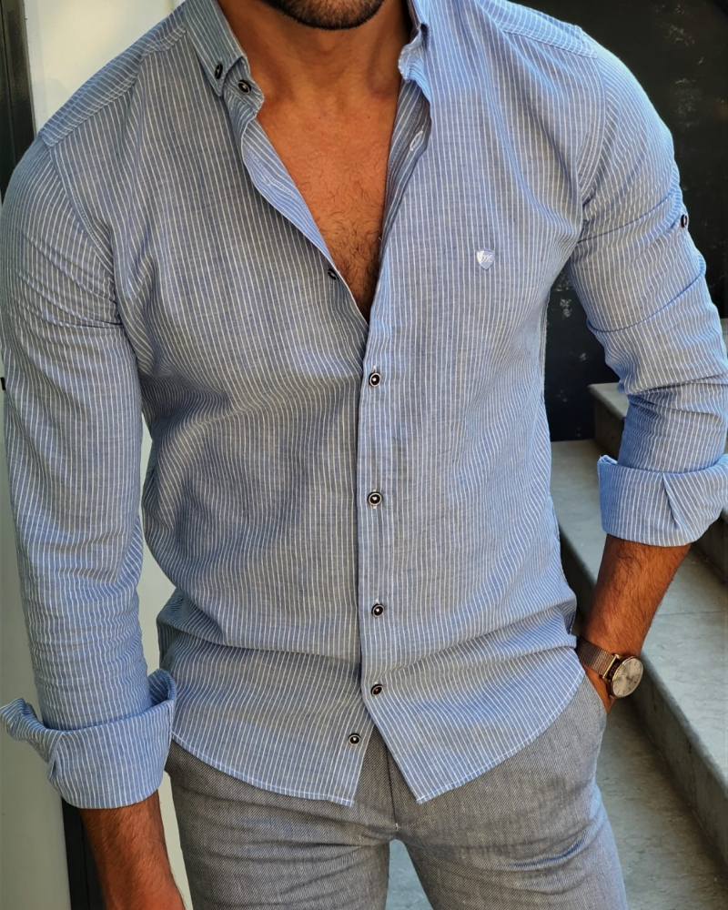 Aysoti Fayetteville Blue Slim Fit Pinstripe Shirt