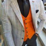 Aysoti Fayetteville Gray Slim Fit Plaid Blazer