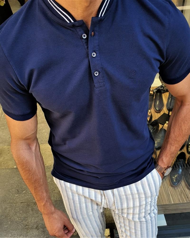 Aysoti Fayetteville Navy Blue Slim Fit Polo Shirt