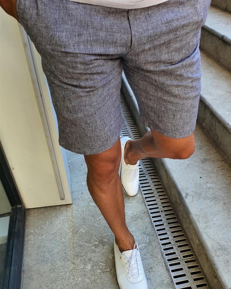 Aysoti Fayetteville Navy Blue Slim Fit Shorts