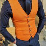 Aysoti Fayetteville Orange Slim Fit Vest
