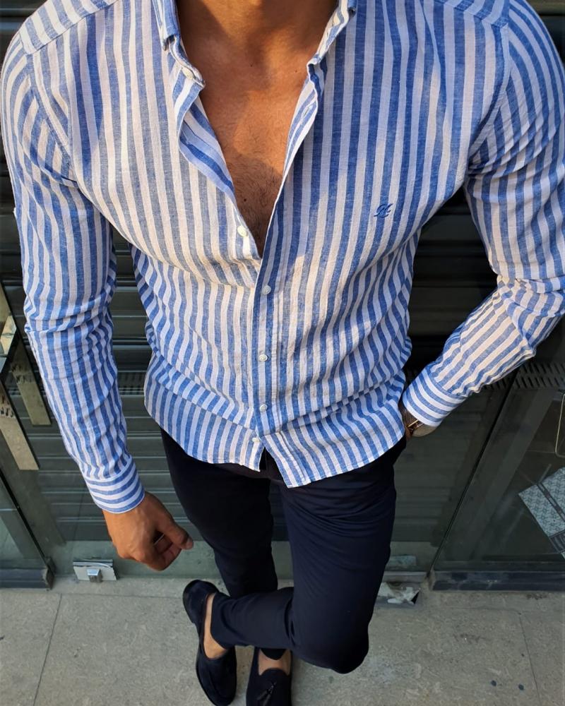 Aysoti Fayetteville Sax Slim Fit Striped Shirt
