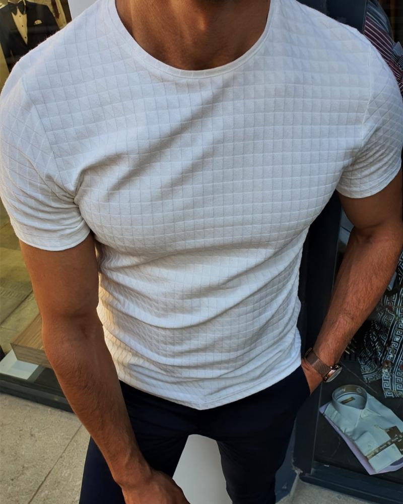 Aysoti Fayetteville White Slim Fit Round Neck T-Shirt