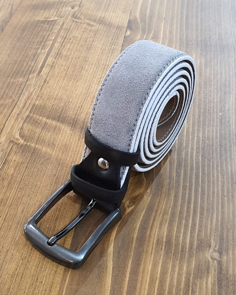 Aysoti Gray Suede Leather Belt