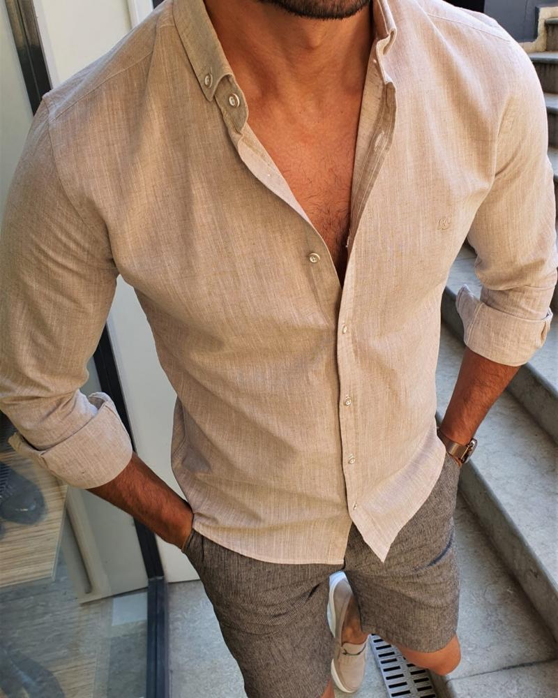Aysoti Henderson Beige Slim Fit Button Collar Shirt