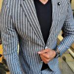 Aysoti Henderson Black Slim Fit Striped Blazer