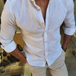Aysoti Henderson White Slim Fit Button Collar Shirt