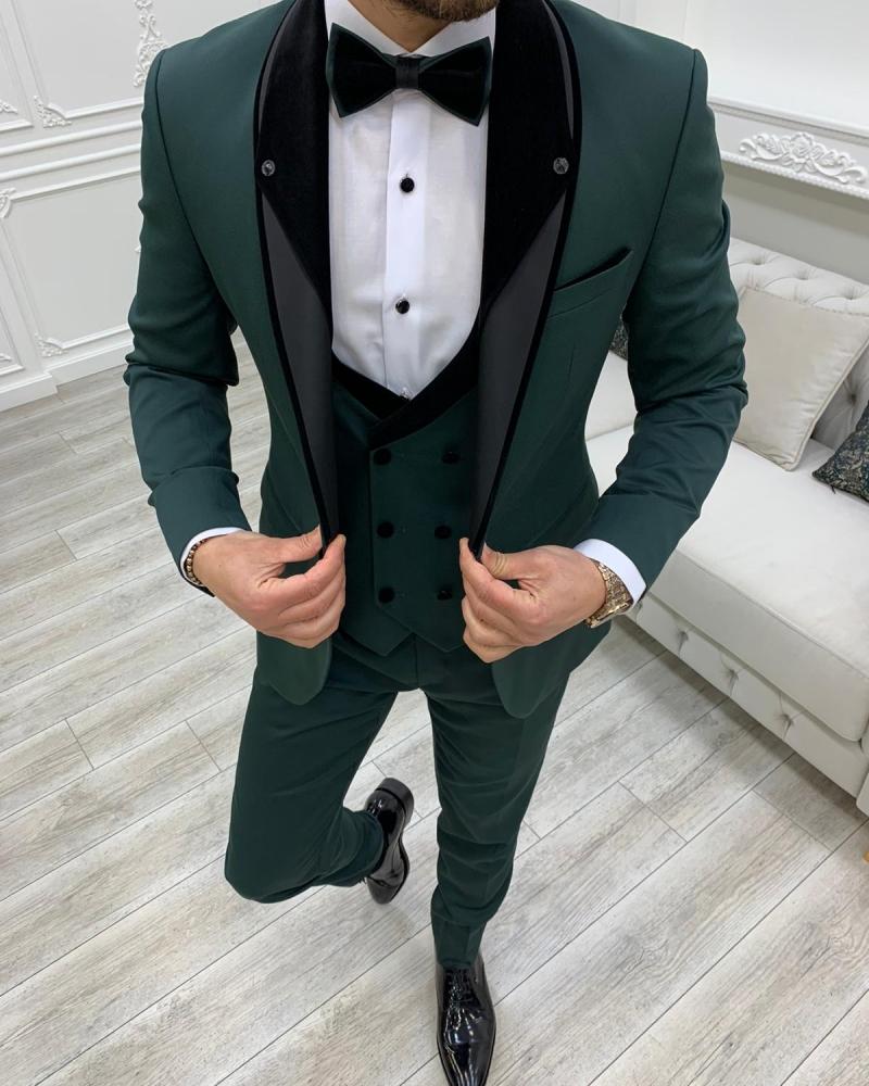 Aysoti Hunwal Dark Green Slim Fit Shawl Lapel Tuxedo