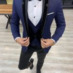 Aysoti Hunwal Navy Blue Slim Fit Velvet Shawl Lapel Tuxedo