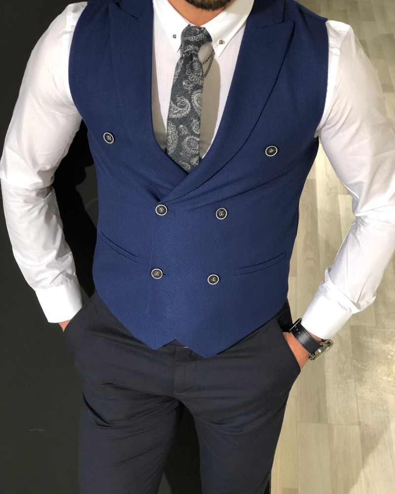 Aysoti Keefe Slim Fit Double Breasted Vest – Navy Blue