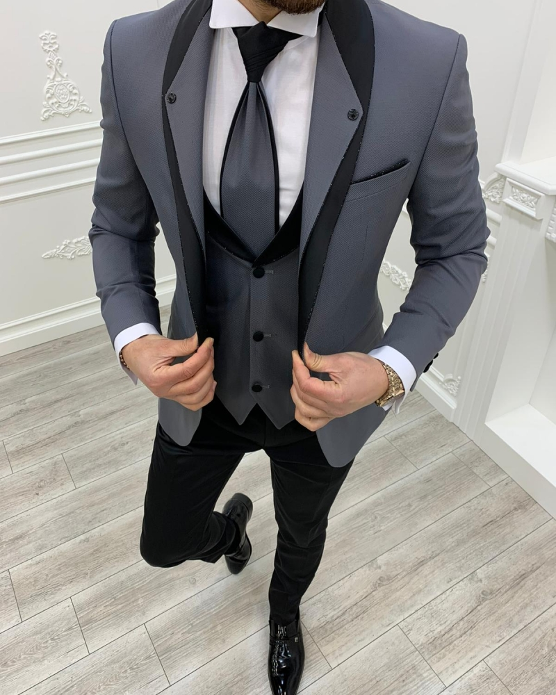 Aysoti Kingswood Gray Slim Fit Shawl Lapel Groom Suit