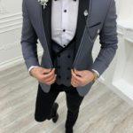 Aysoti Kingswood Gray Slim Fit Shawl Lapel Tuxedo