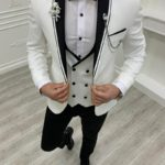 Aysoti Kingswood White Slim Fit Shawl Lapel Tuxedo