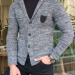 Aysoti Manley Black Slim Fit Knitwear Jacket