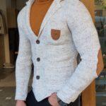 Aysoti Manley Gray Slim Fit Knitwear Jacket