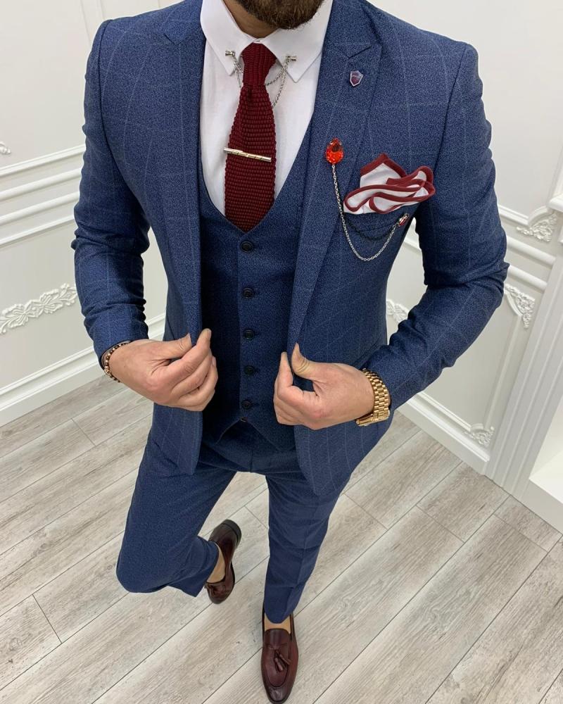 Aysoti Milford Blue Slim Fit Plaid Suit
