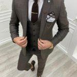 Aysoti Milford Brown Slim Fit Plaid Suit
