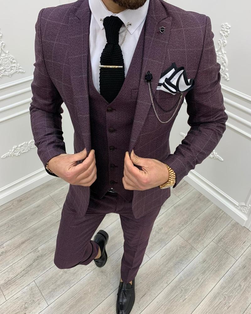 Aysoti Milford Burgundy Slim Fit Plaid Suit