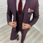 Aysoti Laval Burgundy Slim Fit Suit
