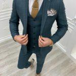 Aysoti Milford Green Slim Fit Plaid Suit