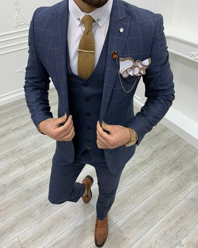 Aysoti Milford Navy Blue Slim Fit Plaid Suit