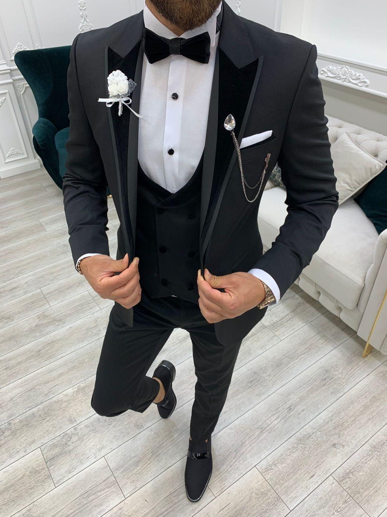 Black Slim Fit Velvet Peak Lapel Tuxedo