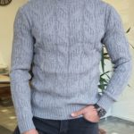 Aysoti Mooseville Gray Slim Fit Turtleneck Wool Sweater