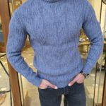 Aysoti Mooseville Indigo Slim Fit Turtleneck Wool Sweater