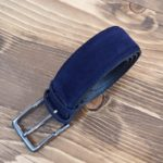 Aysoti Navy Blue Suede Leather Belt