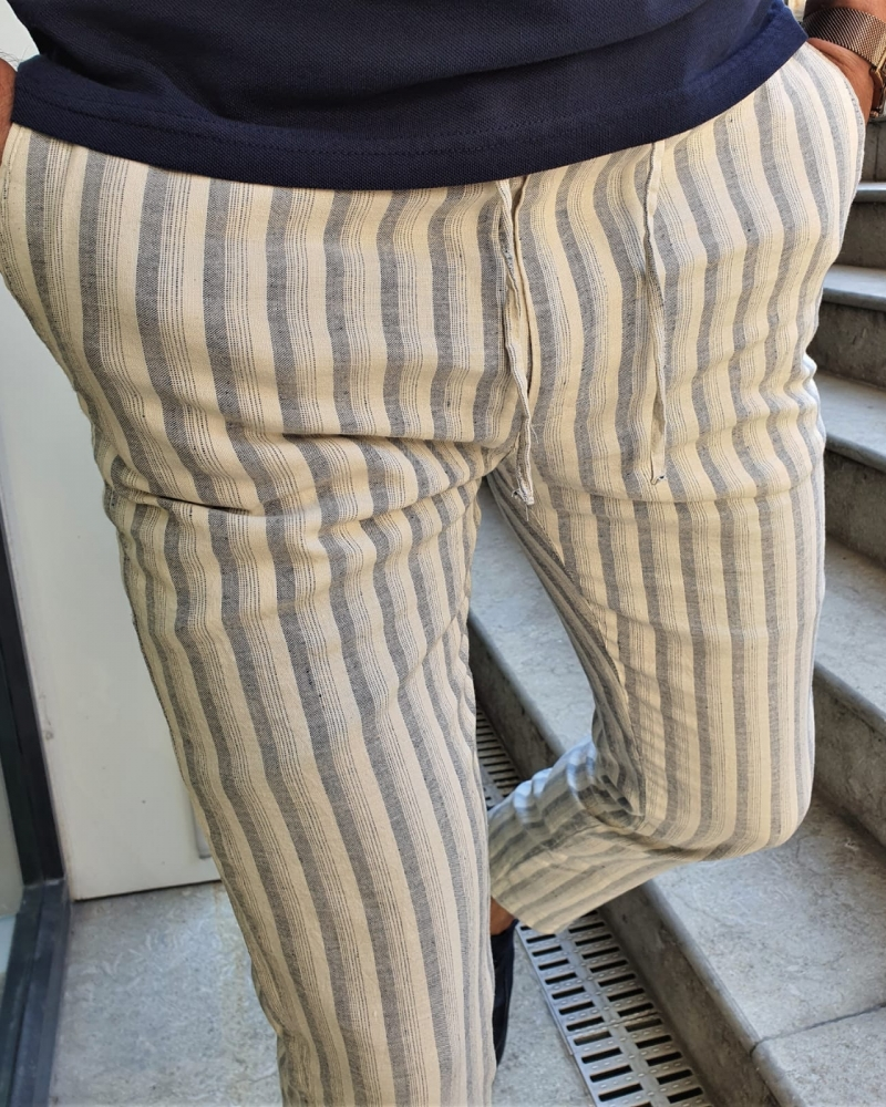 Aysoti Newark Navy Blue Slim Fit Laced Striped Linen Pants