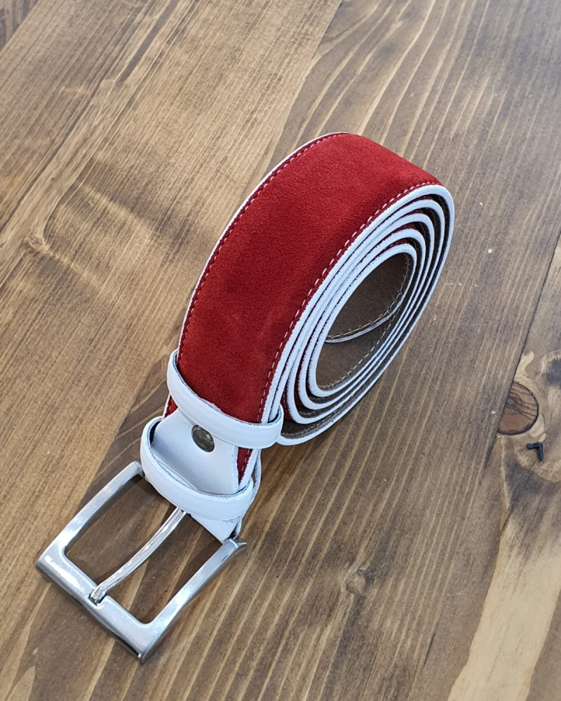 Aysoti Red Suede Leather Belt