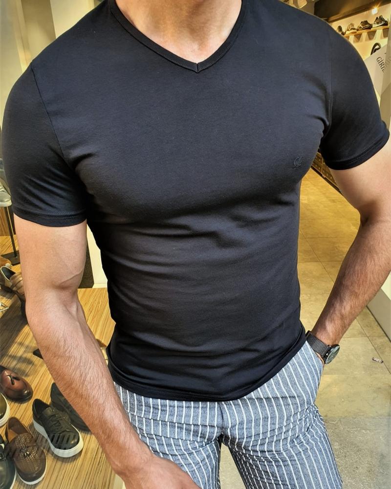Aysoti Sparks Black Slim Fit V-Neck T-Shirt