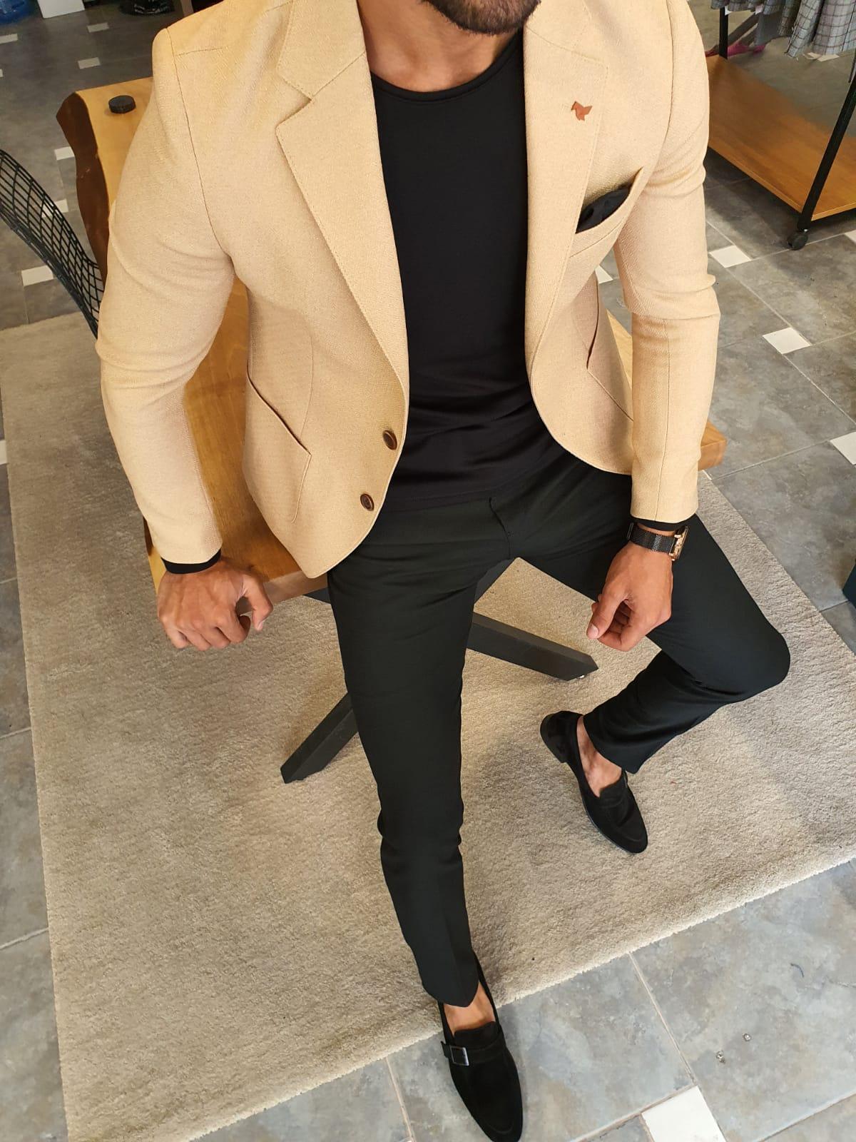 Aysoti Verdak Beige Slim Fit Jacket