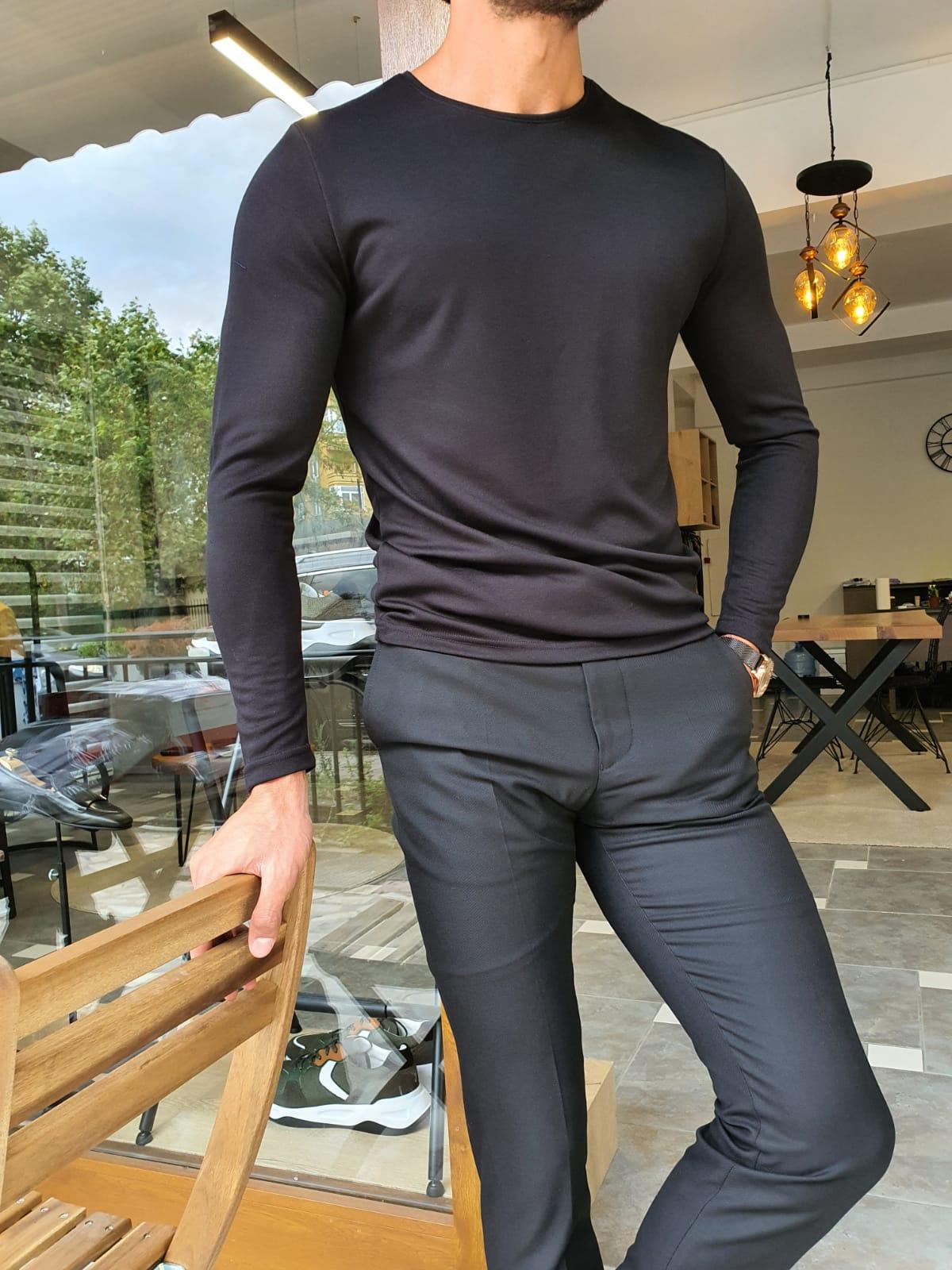 Aysoti Verdak Black Slim Fit T-Shirt