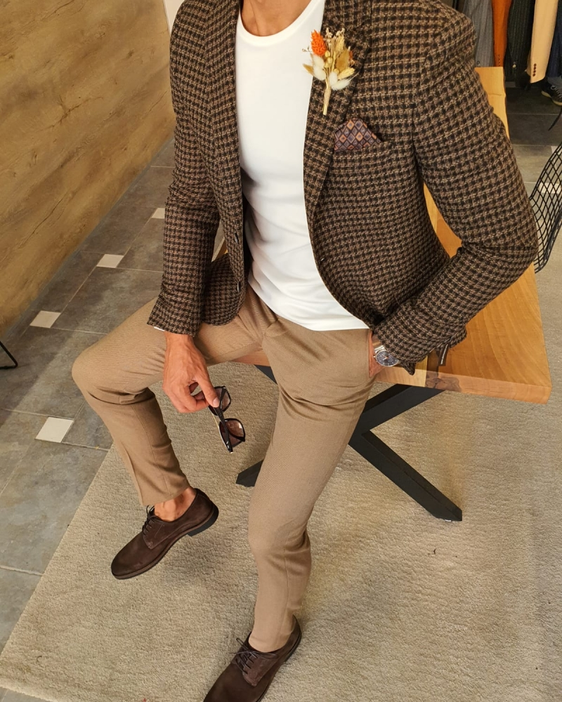 Aysoti Verdak Brown Slim Fit Plaid Wool Blazer