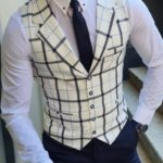 Aysoti White Slim Fit Plaid Vest
