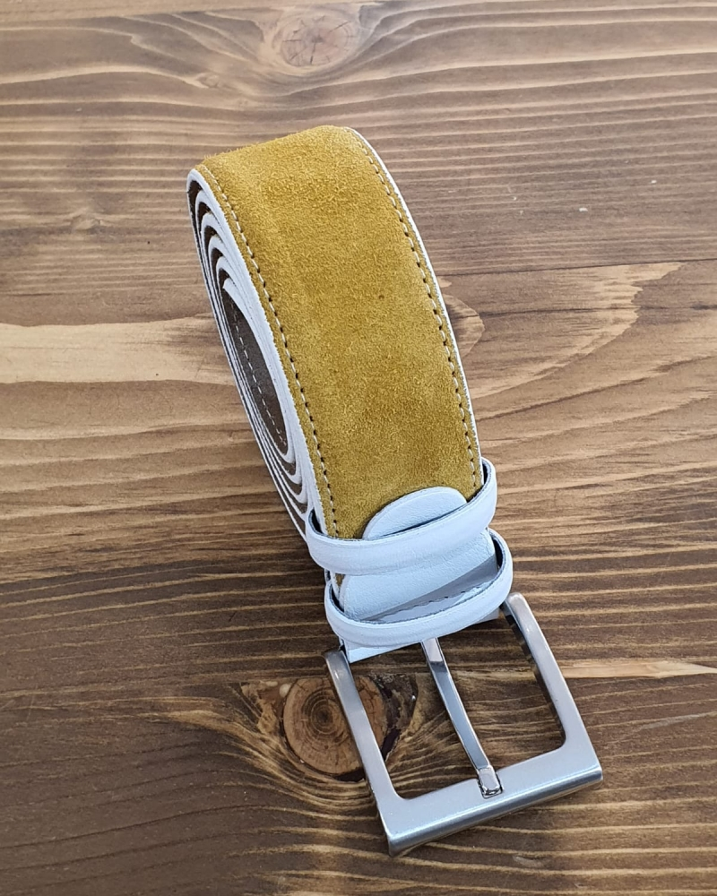 Aysoti Yellow Suede Leather Belt