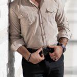 Aysoti Marvee Beige Slim Fit Striped Velvet Shirt