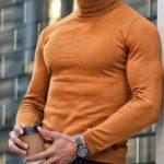 Aysoti Warren Camel Slim Fit Turtleneck Wool Sweater