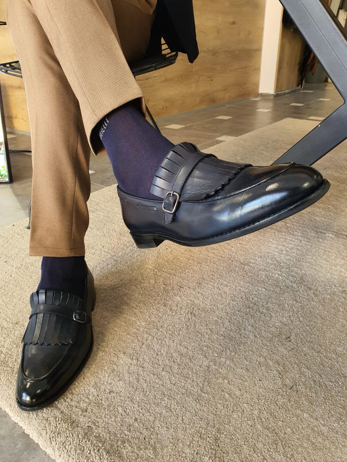 Aysoti Avallos Dark Blue Kilt Loafers
