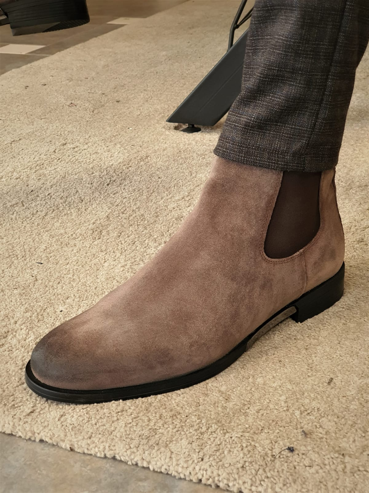 Aysoti Tan Mink Suede Chelsea Boots