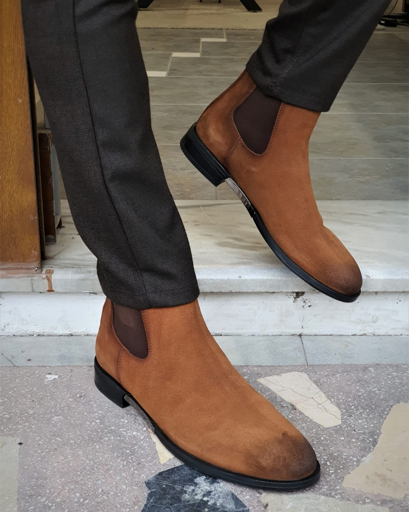 Aysoti Tan Suede Chelsea Boots