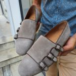 Aysoti Gray Triple Monk Strap Suede Loafers